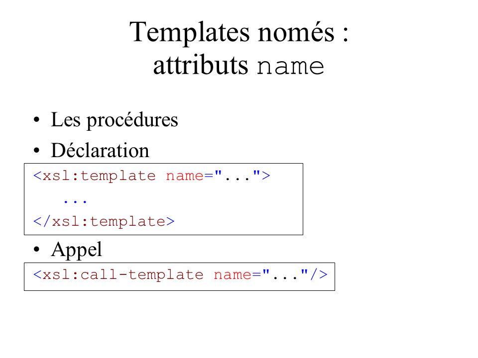Templates només : attributs name Les procédures Déclaration... Appel
