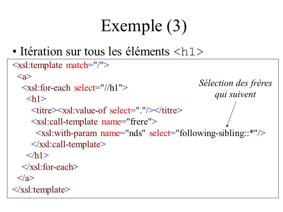Exemple (3) Itération sur tous les éléments Sélection des frères qui suivent