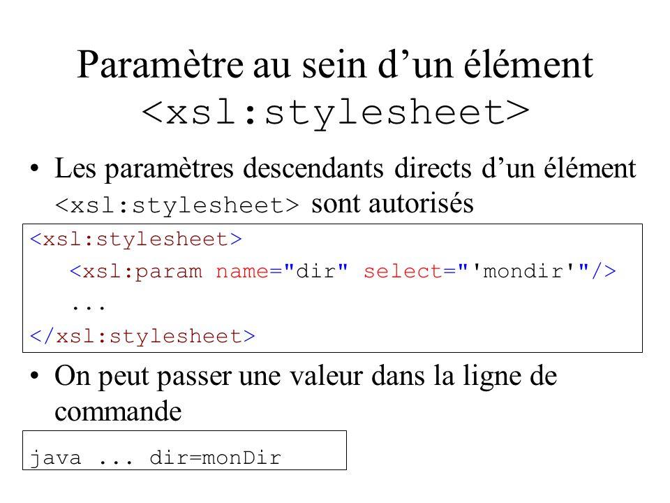 Paramètre au sein dun élément Les paramètres descendants directs dun élément sont autorisés...