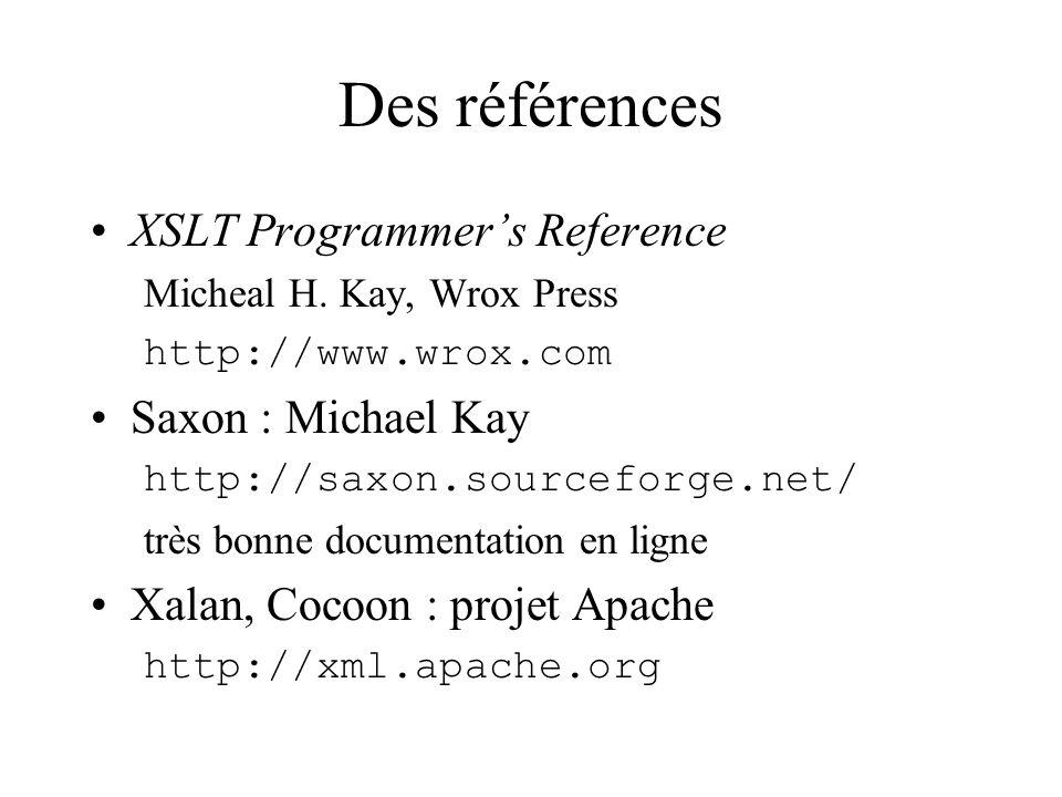 Des références XSLT Programmers Reference Micheal H.