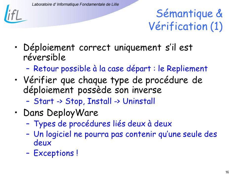 16 Sémantique & Vérification (1) Déploiement correct uniquement sil est réversible –Retour possible à la case départ : le Repliement Vérifier que chaque type de procédure de déploiement possède son inverse –Start -> Stop, Install -> Uninstall Dans DeployWare –Types de procédures liés deux à deux –Un logiciel ne pourra pas contenir quune seule des deux –Exceptions !