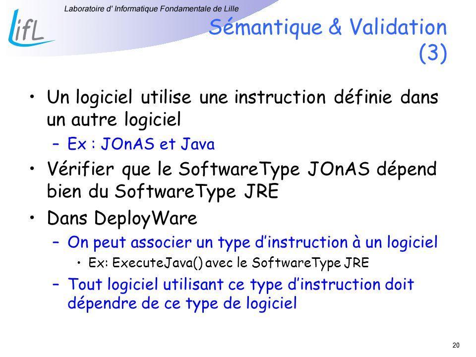 20 Sémantique & Validation (3) Un logiciel utilise une instruction définie dans un autre logiciel –Ex : JOnAS et Java Vérifier que le SoftwareType JOnAS dépend bien du SoftwareType JRE Dans DeployWare –On peut associer un type dinstruction à un logiciel Ex: ExecuteJava() avec le SoftwareType JRE –Tout logiciel utilisant ce type dinstruction doit dépendre de ce type de logiciel