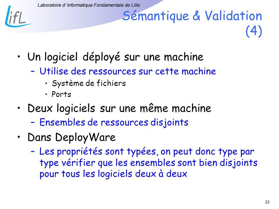 23 Sémantique & Validation (4) Un logiciel déployé sur une machine –Utilise des ressources sur cette machine Système de fichiers Ports Deux logiciels sur une même machine –Ensembles de ressources disjoints Dans DeployWare –Les propriétés sont typées, on peut donc type par type vérifier que les ensembles sont bien disjoints pour tous les logiciels deux à deux