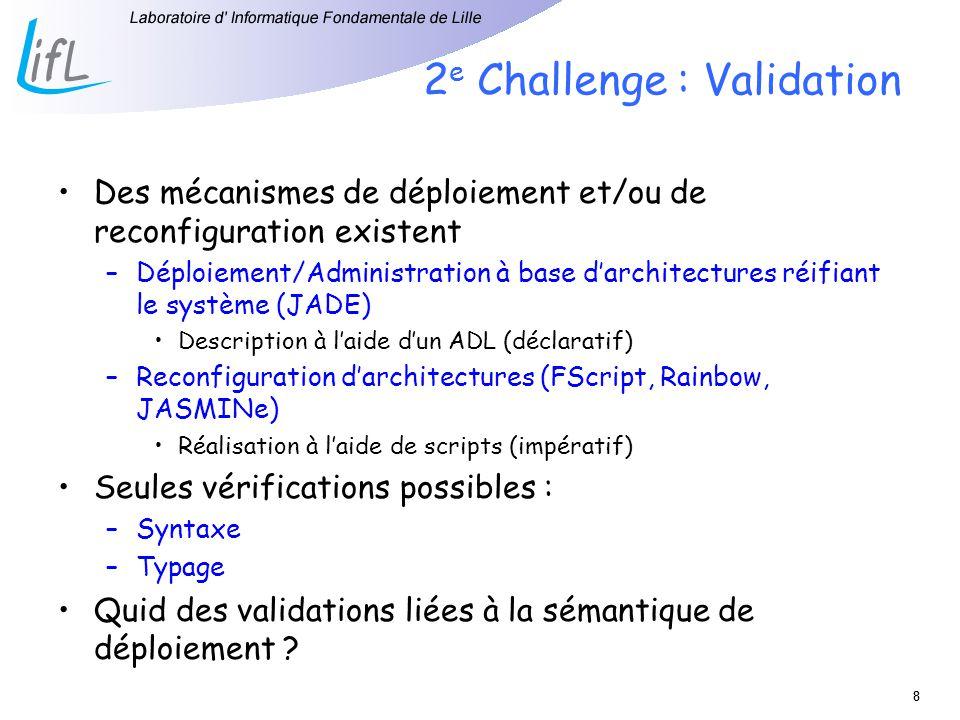 88 2 e Challenge : Validation Des mécanismes de déploiement et/ou de reconfiguration existent –Déploiement/Administration à base darchitectures réifiant le système (JADE) Description à laide dun ADL (déclaratif) –Reconfiguration darchitectures (FScript, Rainbow, JASMINe) Réalisation à laide de scripts (impératif) Seules vérifications possibles : –Syntaxe –Typage Quid des validations liées à la sémantique de déploiement ?