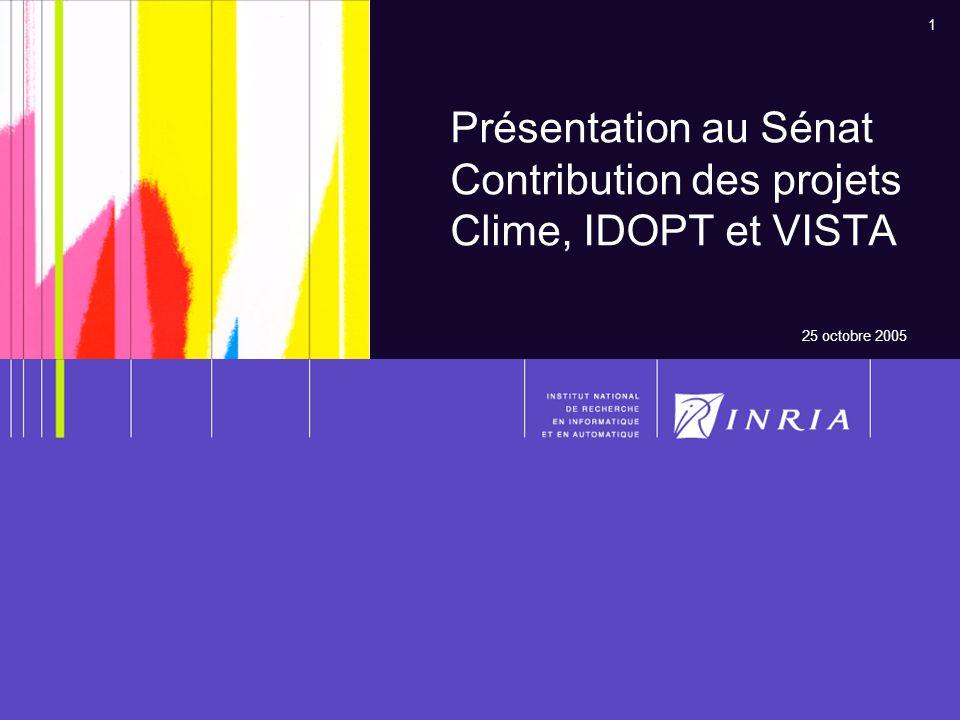 1 Présentation au Sénat Contribution des projets Clime, IDOPT et VISTA 25 octobre 2005