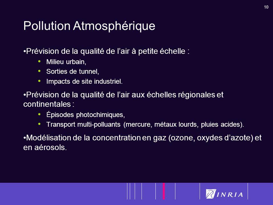 10 Pollution Atmosphérique Prévision de la qualité de lair à petite échelle : Milieu urbain, Sorties de tunnel, Impacts de site industriel. Prévision