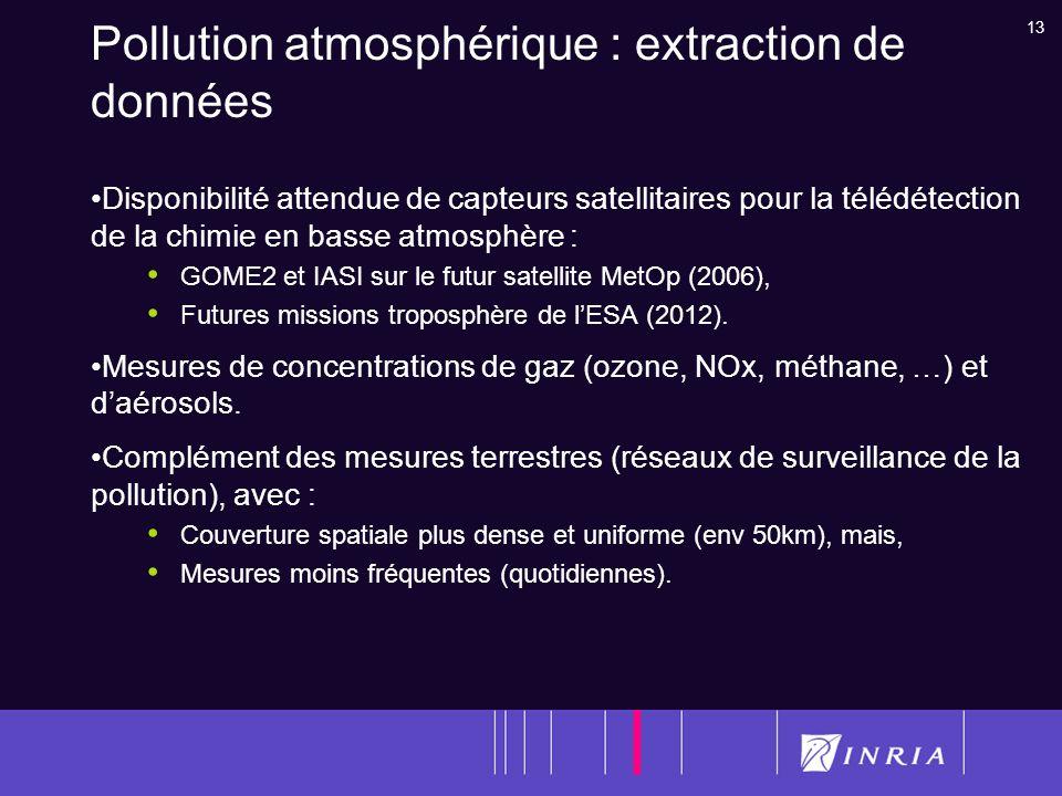 13 Pollution atmosphérique : extraction de données Disponibilité attendue de capteurs satellitaires pour la télédétection de la chimie en basse atmosp