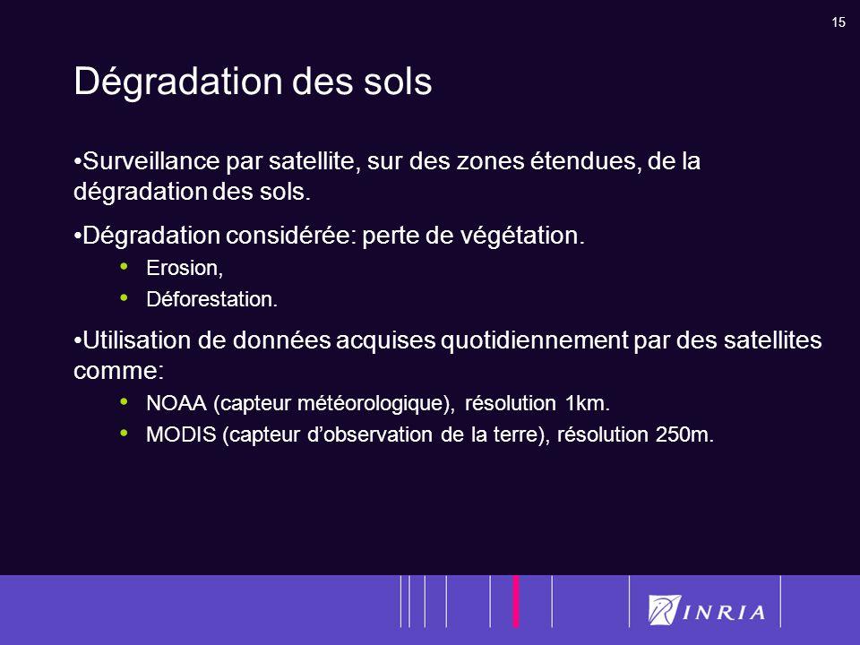 15 Dégradation des sols Surveillance par satellite, sur des zones étendues, de la dégradation des sols. Dégradation considérée: perte de végétation. E
