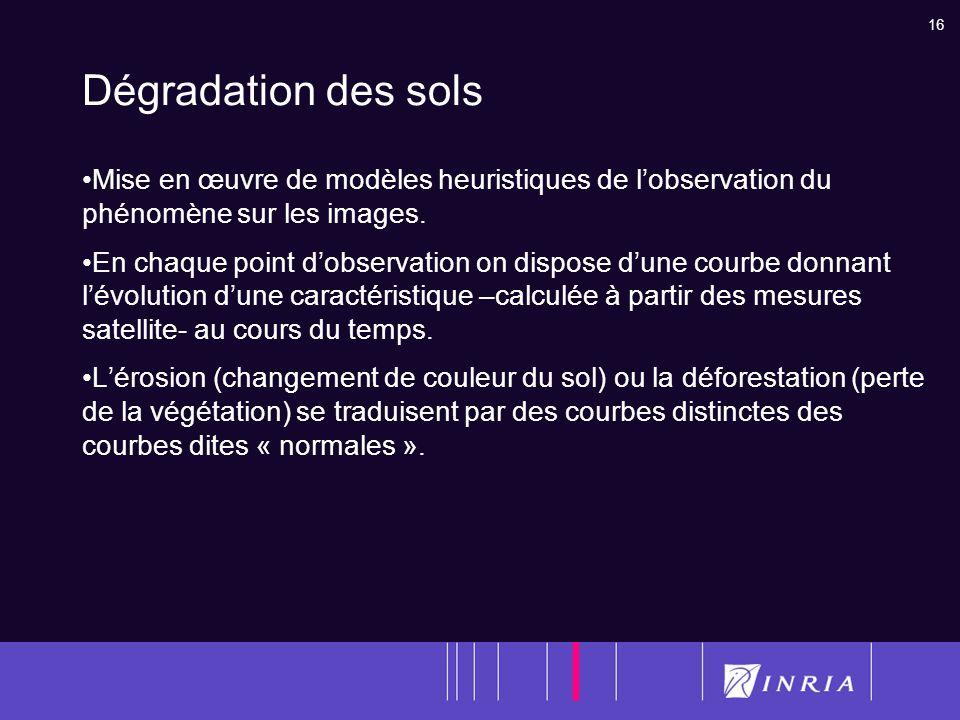 16 Dégradation des sols Mise en œuvre de modèles heuristiques de lobservation du phénomène sur les images. En chaque point dobservation on dispose dun