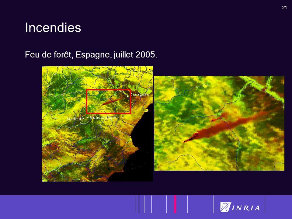 21 Incendies Feu de forêt, Espagne, juillet 2005.