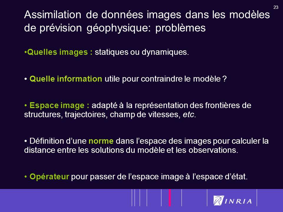 23 Assimilation de données images dans les modèles de prévision géophysique: problèmes Quelles images : statiques ou dynamiques. Quelle information ut