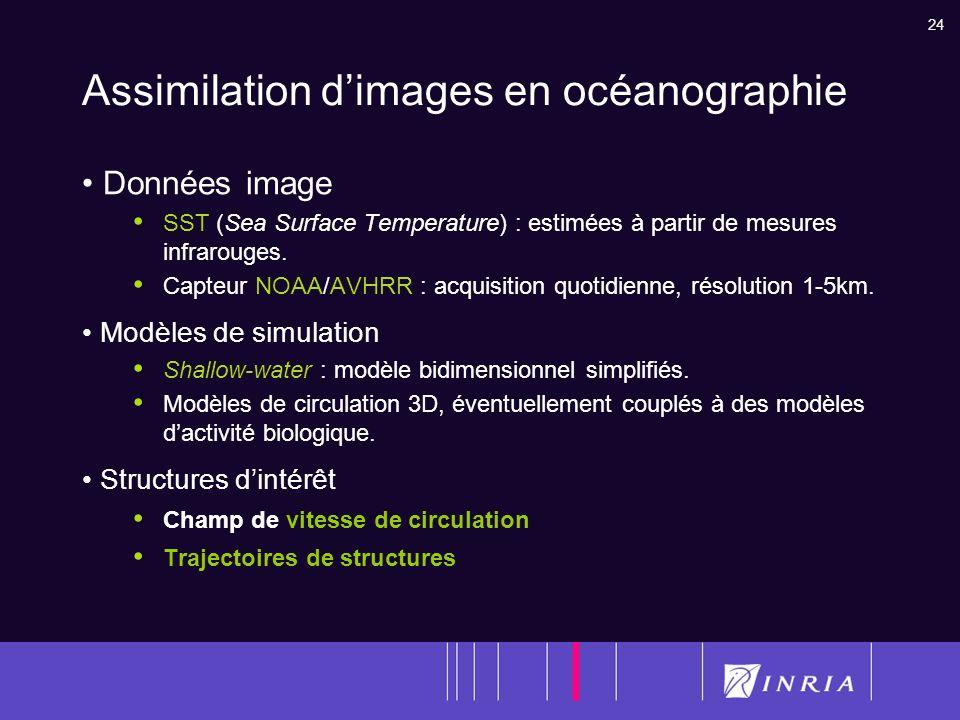 24 Assimilation dimages en océanographie Données image SST (Sea Surface Temperature) : estimées à partir de mesures infrarouges. Capteur NOAA/AVHRR :
