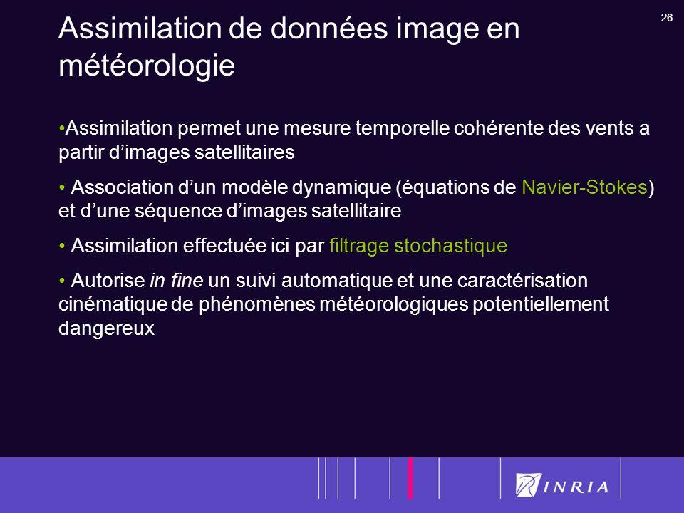 26 Assimilation de données image en météorologie Assimilation permet une mesure temporelle cohérente des vents a partir dimages satellitaires Associat