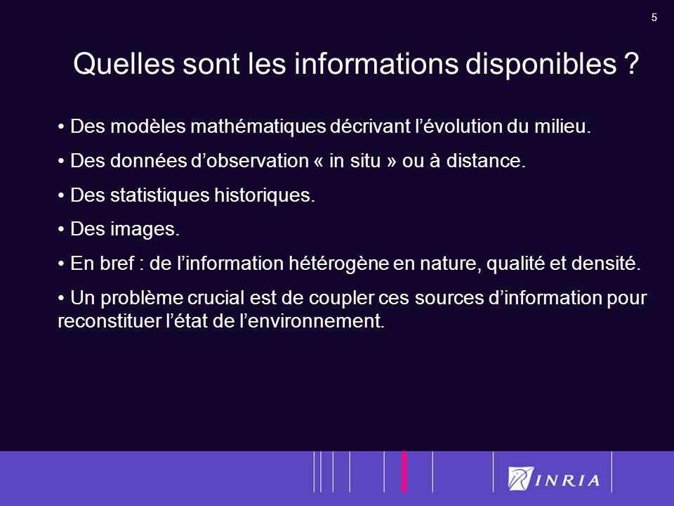 5 Quelles sont les informations disponibles ? Des modèles mathématiques décrivant lévolution du milieu. Des données dobservation « in situ » ou à dist