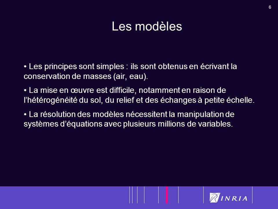 6 Les modèles Les principes sont simples : ils sont obtenus en écrivant la conservation de masses (air, eau). La mise en œuvre est difficile, notammen
