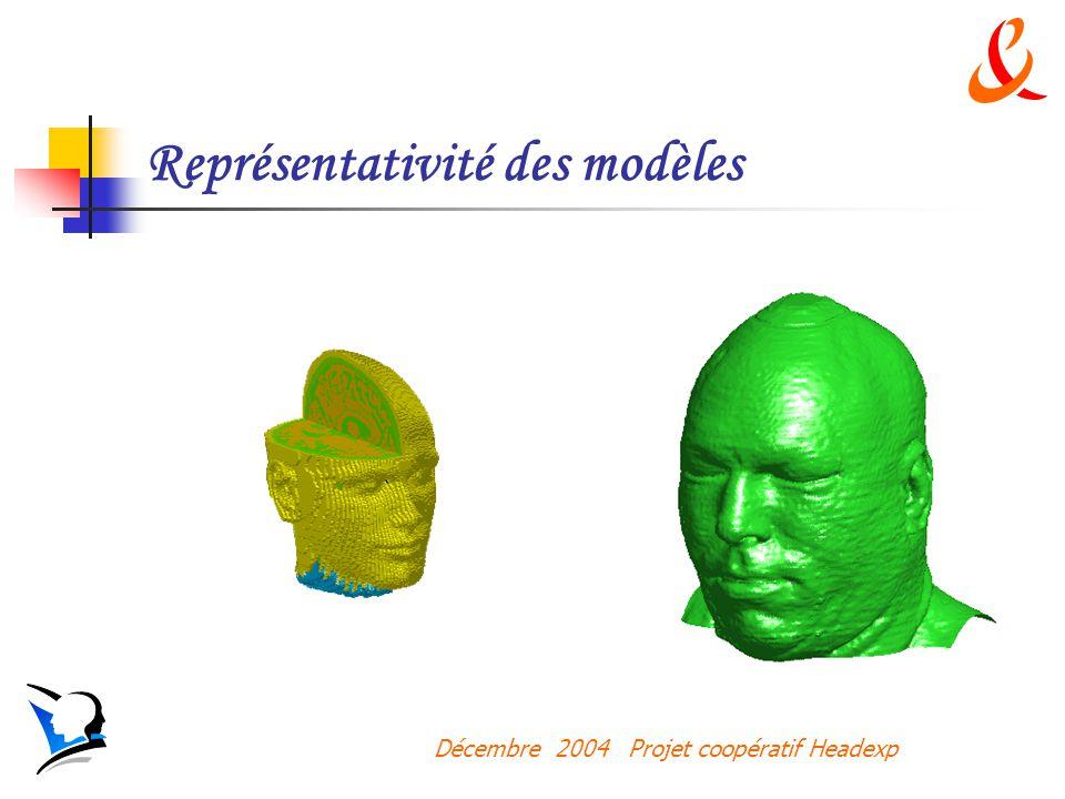 Décembre 2004 Projet coopératif Headexp Représentativité des modèles