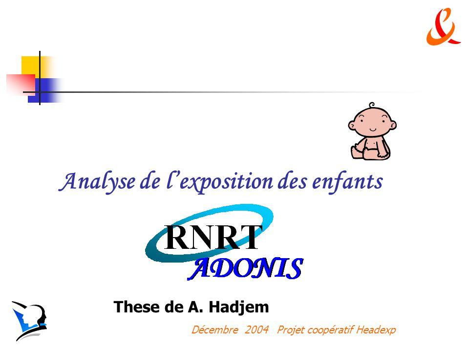 Décembre 2004 Projet coopératif Headexp Analyse de lexposition des enfants These de A. Hadjem