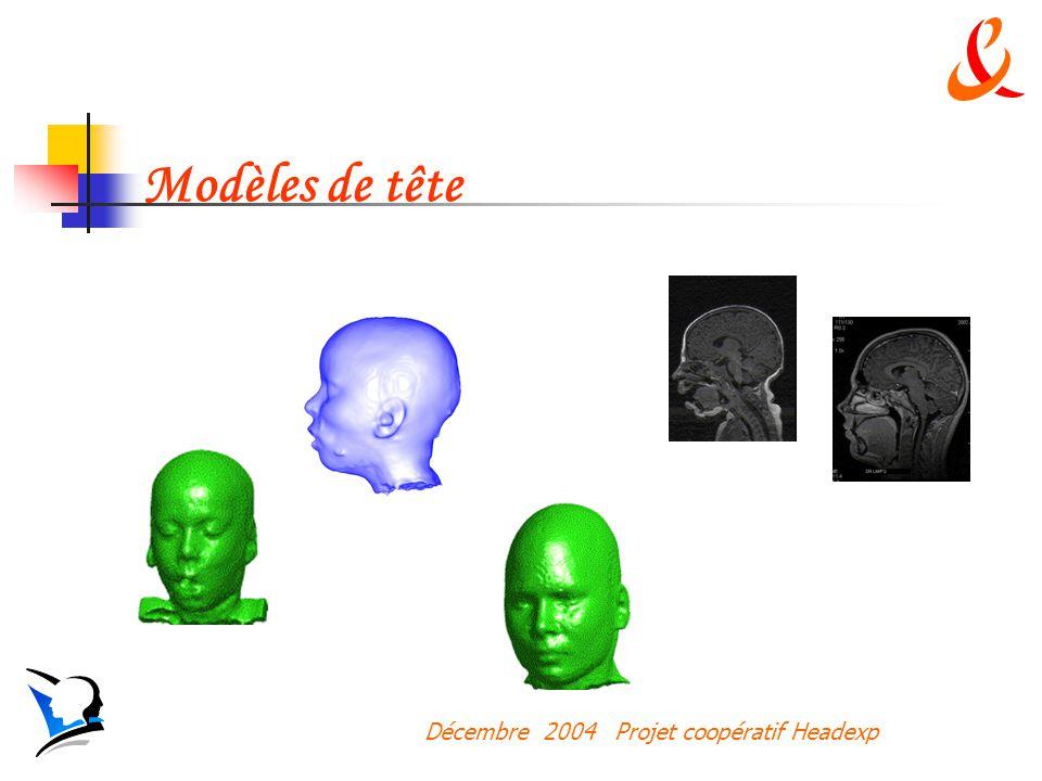 Décembre 2004 Projet coopératif Headexp Modèles de tête