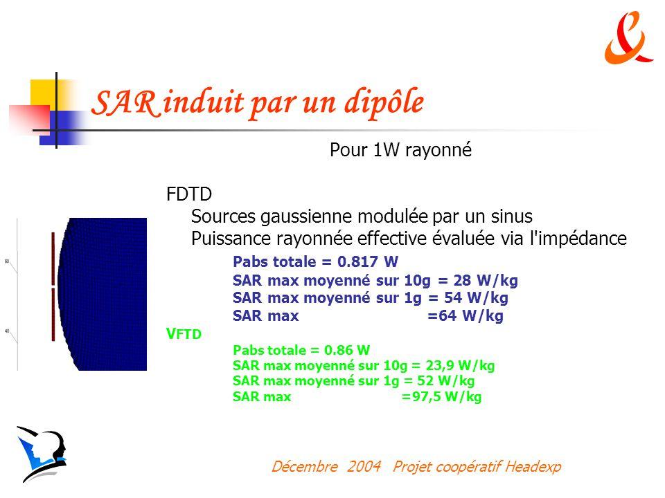 Décembre 2004 Projet coopératif Headexp SAR induit par un dipôle Pour 1W rayonné FDTD Sources gaussienne modulée par un sinus Puissance rayonnée effective évaluée via l impédance Pabs totale = 0.817 W SAR max moyenné sur 10g = 28 W/kg SAR max moyenné sur 1g = 54 W/kg SAR max =64 W/kg V FTD Pabs totale = 0.86 W SAR max moyenné sur 10g = 23,9 W/kg SAR max moyenné sur 1g = 52 W/kg SAR max =97,5 W/kg