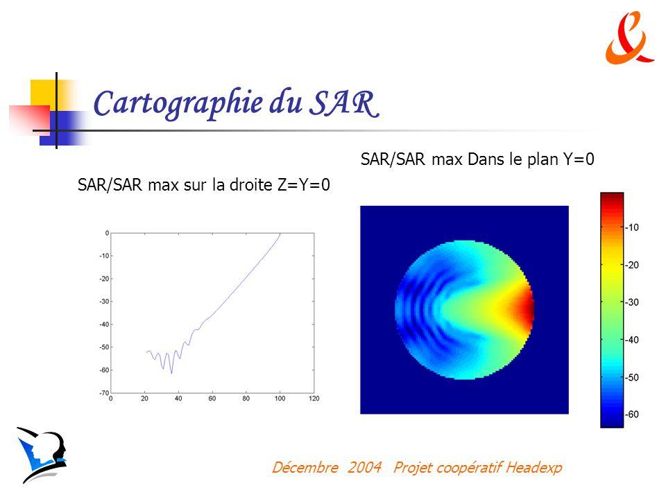 Décembre 2004 Projet coopératif Headexp Cartographie du SAR SAR/SAR max Dans le plan Y=0 SAR/SAR max sur la droite Z=Y=0