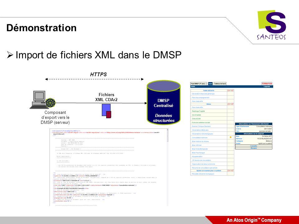 An Atos Origin TM Company Démonstration Import de fichiers XML dans le DMSP DMSP Centralisé Données structurées Fichiers XML CDAr2 Composant dexport v