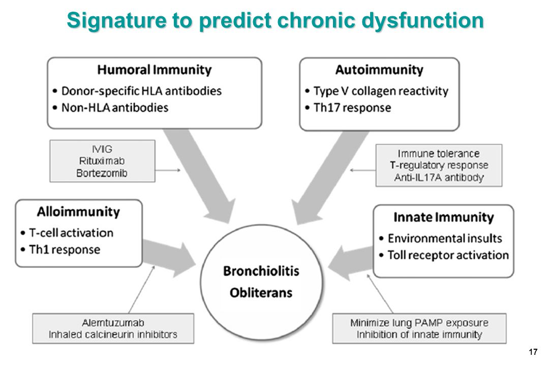 Signature to predict chronic dysfunction 17