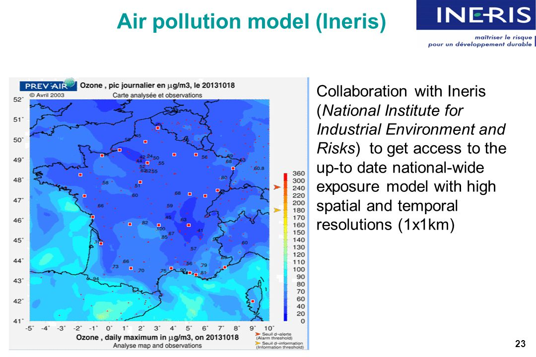 Air pollution model (Ineris) Collaboration with Ineris (National Institute for Industrial Environment and Risks) to get access to the up-to date national-wide exposure model with high spatial and temporal resolutions (1x1km) 23