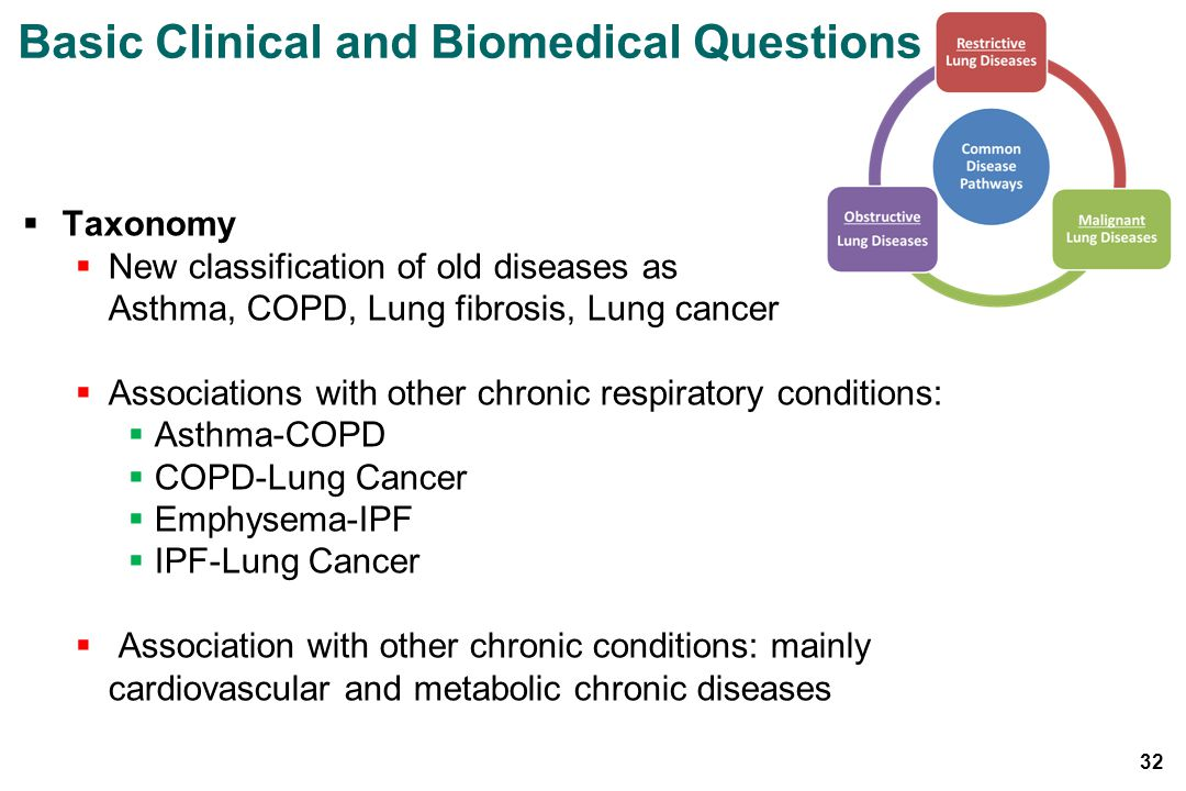 Taxonomy New classification of old diseases as Asthma, COPD, Lung fibrosis, Lung cancer Associations with other chronic respiratory conditions: Asthma-COPD COPD-Lung Cancer Emphysema-IPF IPF-Lung Cancer Association with other chronic conditions: mainly cardiovascular and metabolic chronic diseases Basic Clinical and Biomedical Questions 32