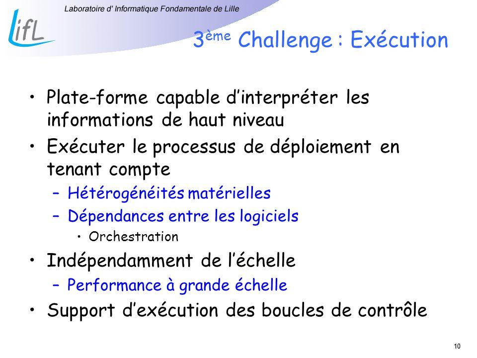 10 3 ème Challenge : Exécution Plate-forme capable dinterpréter les informations de haut niveau Exécuter le processus de déploiement en tenant compte
