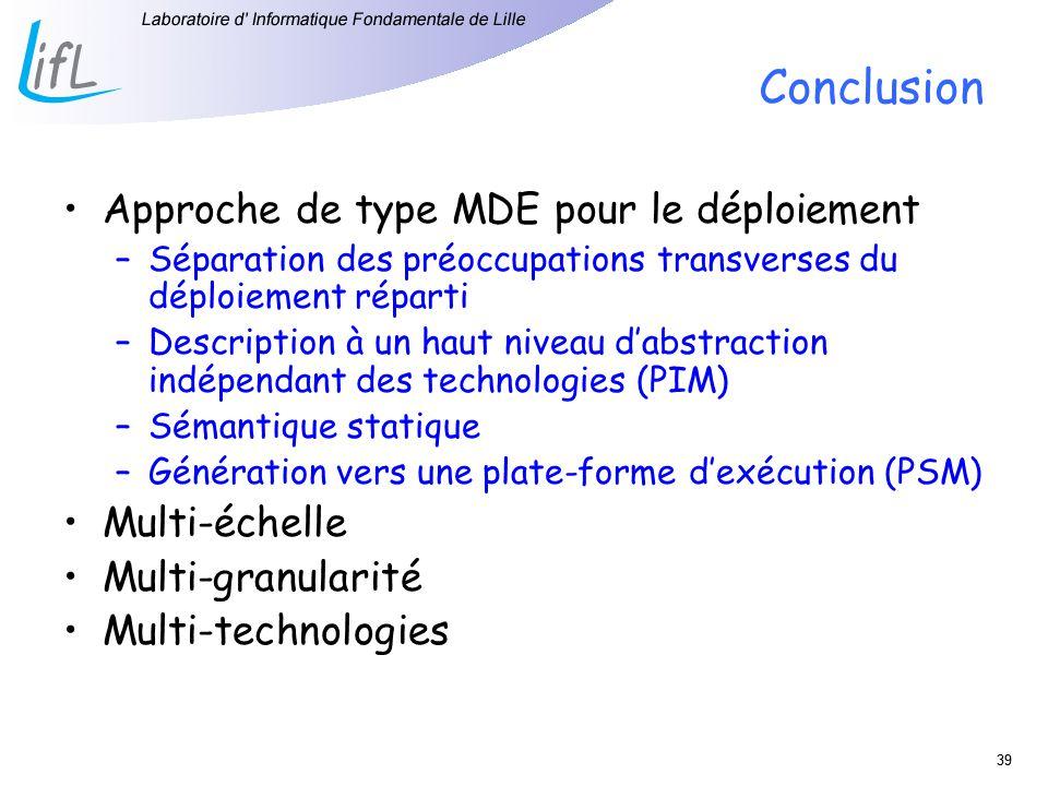 39 Conclusion Approche de type MDE pour le déploiement –Séparation des préoccupations transverses du déploiement réparti –Description à un haut niveau