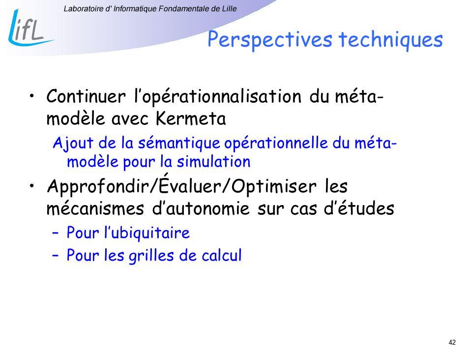 42 Perspectives techniques Continuer lopérationnalisation du méta- modèle avec Kermeta Ajout de la sémantique opérationnelle du méta- modèle pour la s