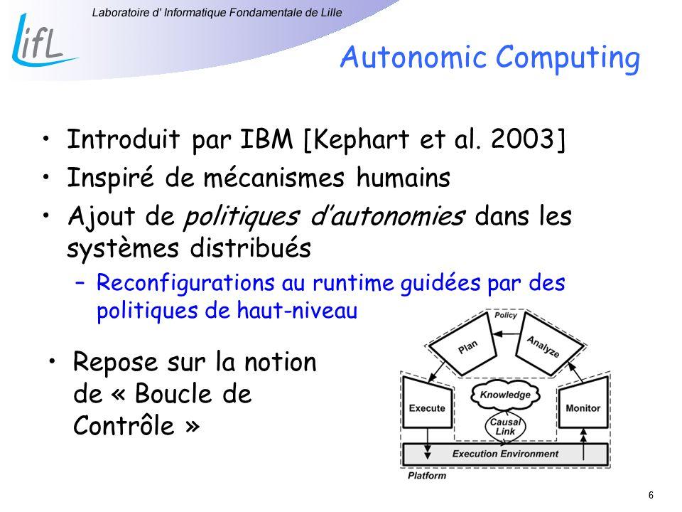 66 Autonomic Computing Introduit par IBM [Kephart et al. 2003] Inspiré de mécanismes humains Ajout de politiques dautonomies dans les systèmes distrib