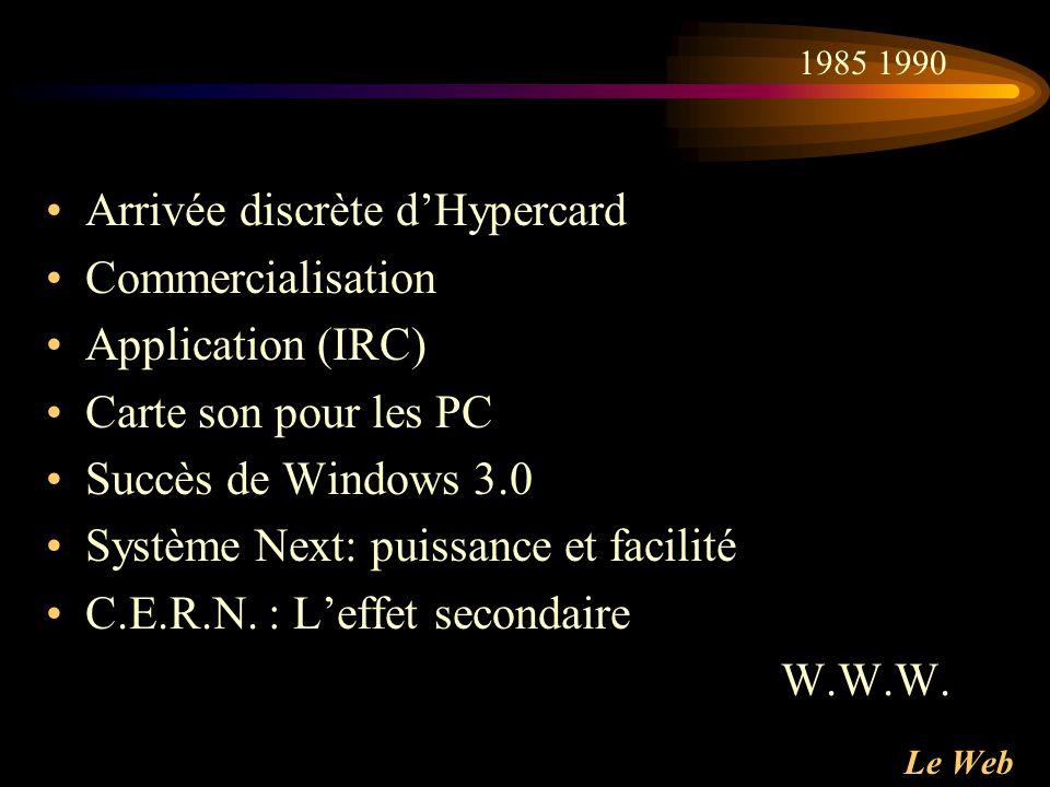 Le Web Arrivée discrète dHypercard Commercialisation Application (IRC) Carte son pour les PC Succès de Windows 3.0 Système Next: puissance et facilité