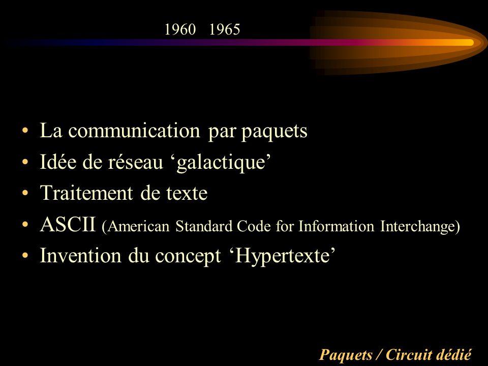 Paquets / Circuit dédié La communication par paquets Idée de réseau galactique Traitement de texte ASCII (American Standard Code for Information Interchange) Invention du concept Hypertexte 19601965