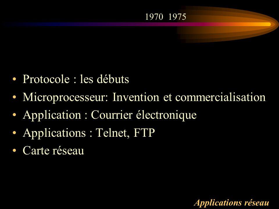 Applications réseau Protocole : les débuts Microprocesseur: Invention et commercialisation Application : Courrier électronique Applications : Telnet,