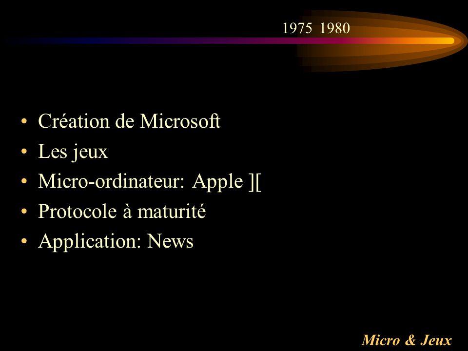 Micro & Jeux Création de Microsoft Les jeux Micro-ordinateur: Apple ][ Protocole à maturité Application: News 19751980
