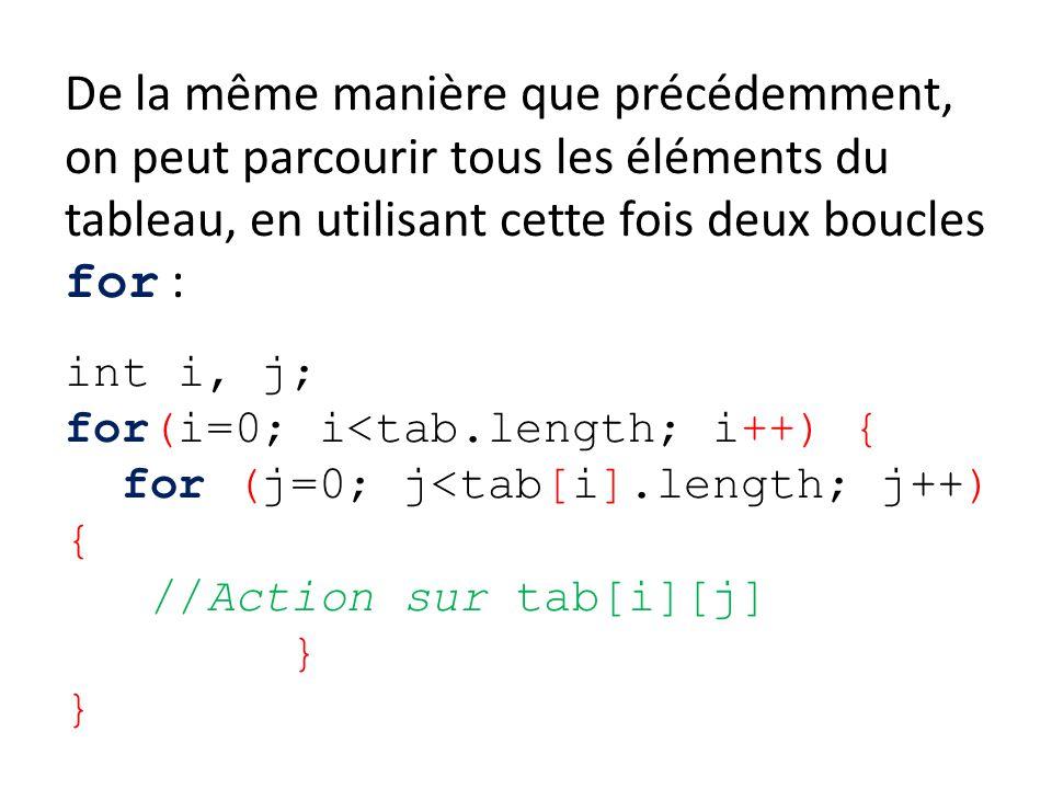 De la même manière que précédemment, on peut parcourir tous les éléments du tableau, en utilisant cette fois deux boucles for : int i, j; for(i=0; i<t