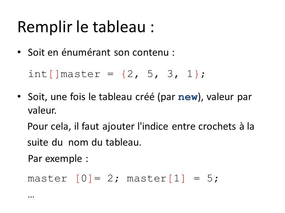 Remplir le tableau : Soit en énumérant son contenu : int[]master = {2, 5, 3, 1}; Soit, une fois le tableau créé (par new ), valeur par valeur. Pour ce