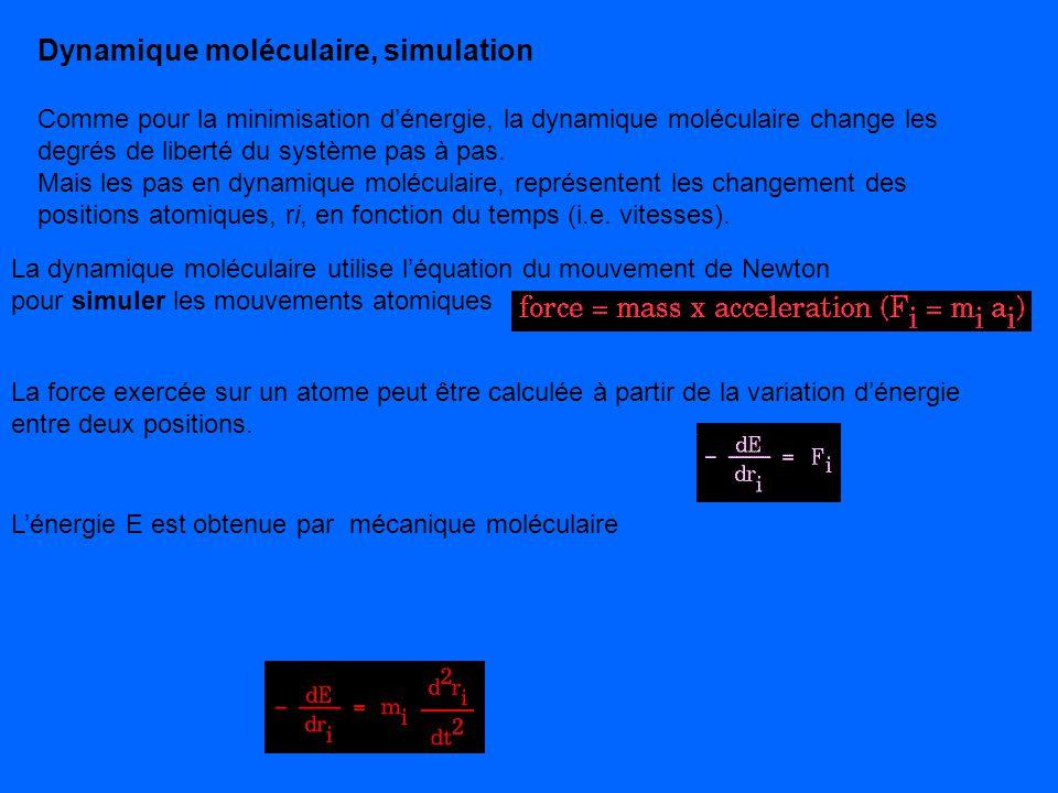 Dynamique moléculaire, simulation Comme pour la minimisation dénergie, la dynamique moléculaire change les degrés de liberté du système pas à pas. Mai