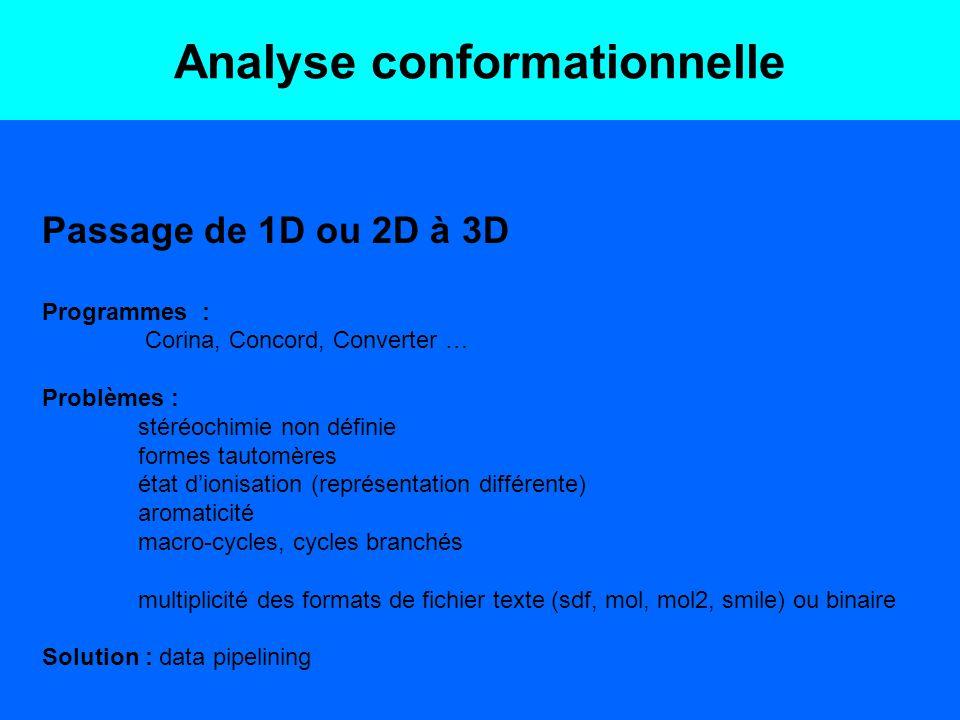 Analyse conformationnelle Passage de 1D ou 2D à 3D Programmes : Corina, Concord, Converter … Problèmes : stéréochimie non définie formes tautomères ét