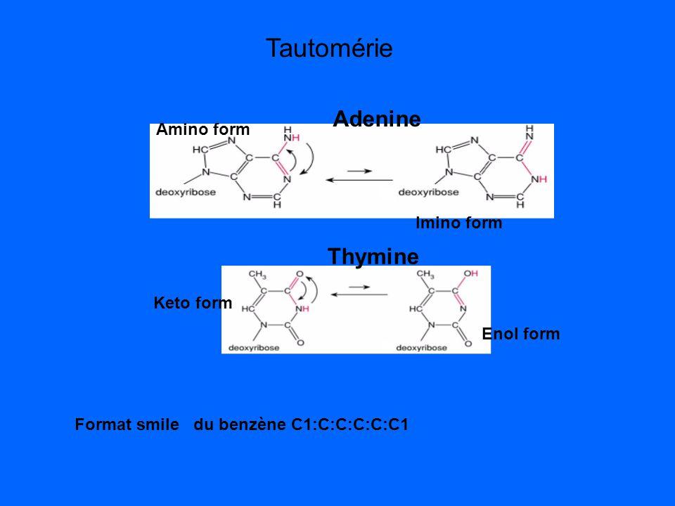 Adenine Amino form Imino form Keto form Enol form Thymine Format smile du benzène C1:C:C:C:C:C1 Tautomérie