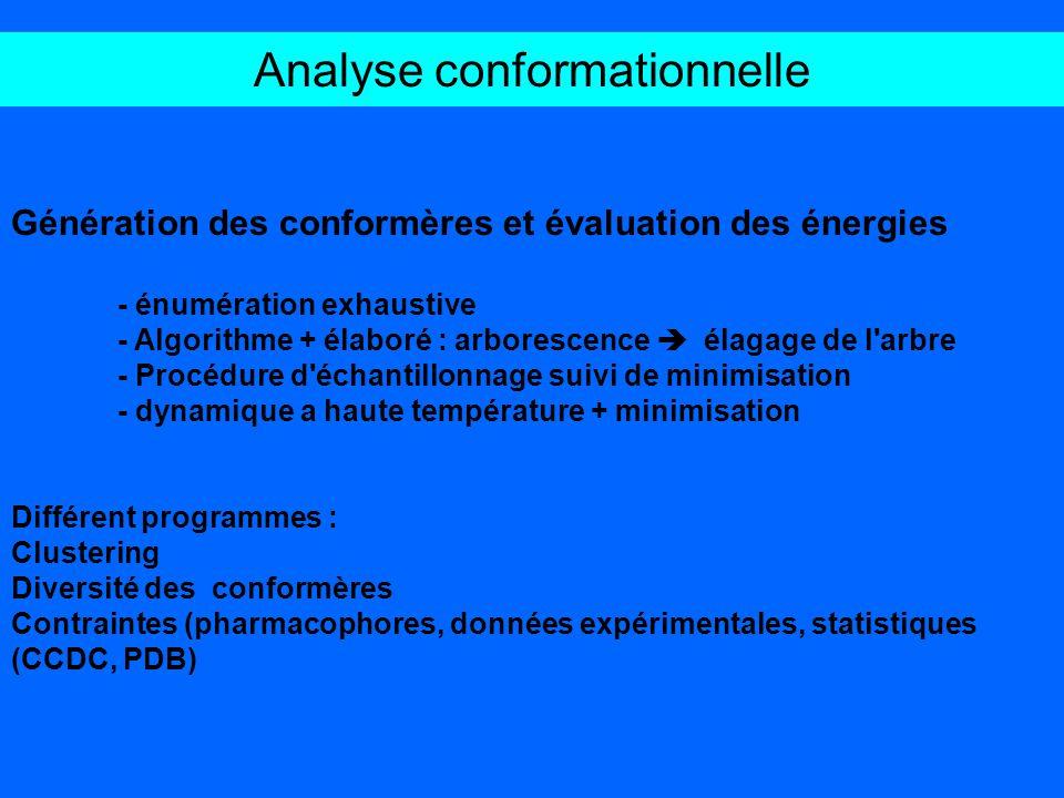Analyse conformationnelle Génération des conformères et évaluation des énergies - énumération exhaustive - Algorithme + élaboré : arborescence élagage