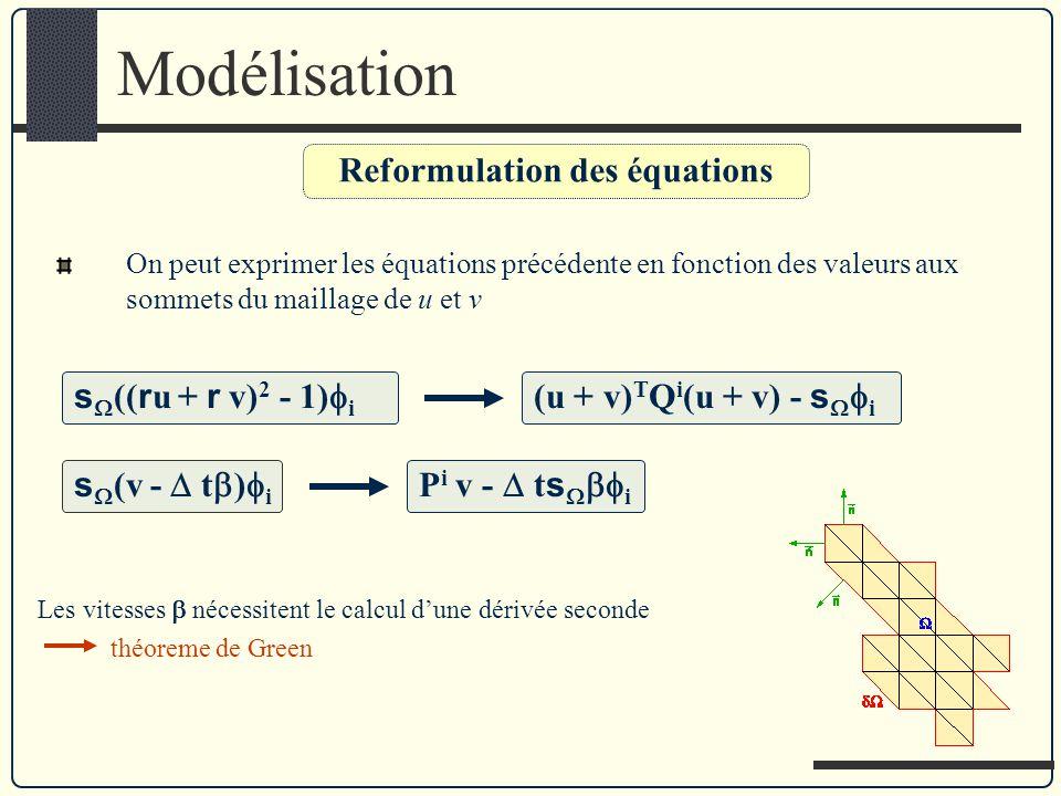 Modélisation On peut exprimer les équations précédente en fonction des valeurs aux sommets du maillage de u et v Reformulation des équations s (( r u