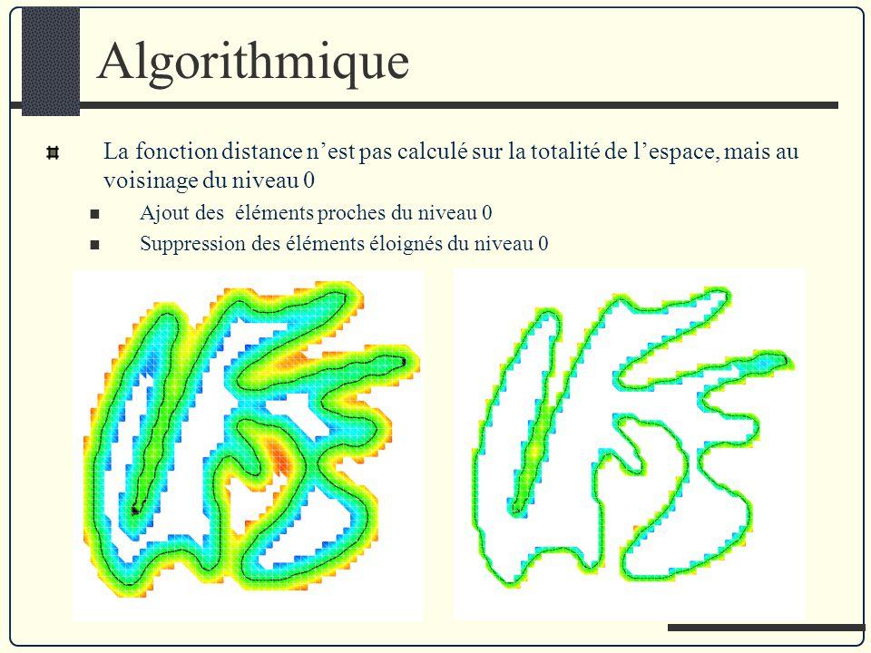 Algorithmique La fonction distance nest pas calculé sur la totalité de lespace, mais au voisinage du niveau 0 Ajout des éléments proches du niveau 0 S