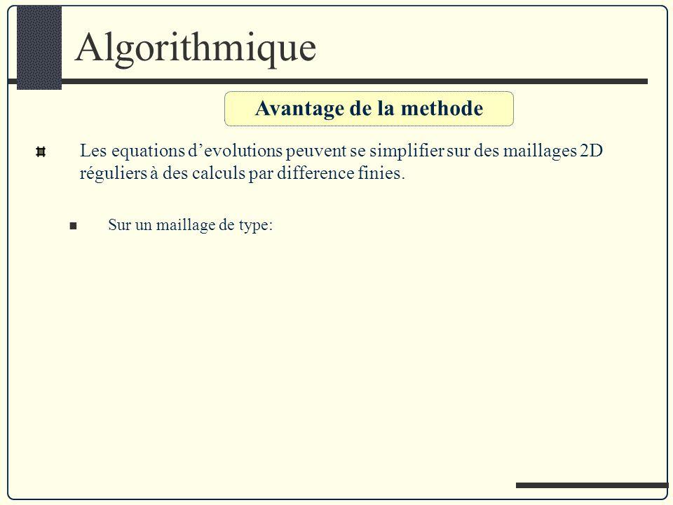 Algorithmique Avantage de la methode Les equations devolutions peuvent se simplifier sur des maillages 2D réguliers à des calculs par difference finie