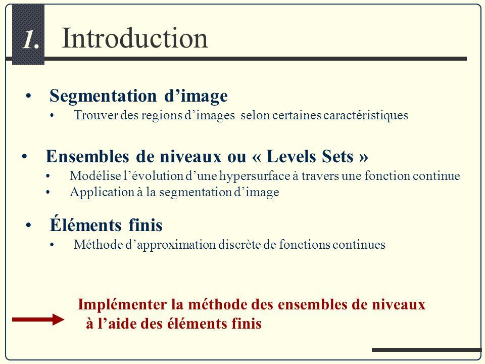 Introduction 1. Segmentation dimage Trouver des regions dimages selon certaines caractéristiques Éléments finis Méthode dapproximation discrète de fon