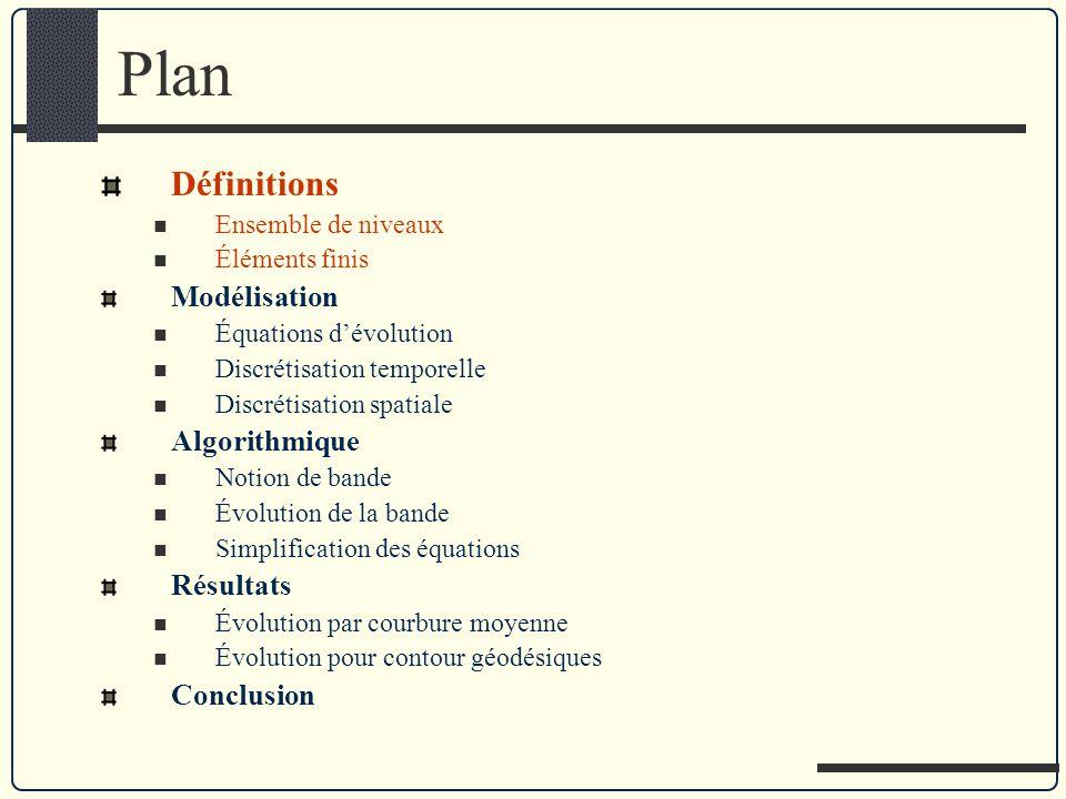 Plan Définitions Ensemble de niveaux Éléments finis Modélisation Équations dévolution Discrétisation temporelle Discrétisation spatiale Algorithmique