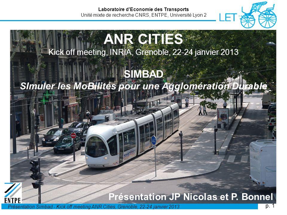 p. 1 Présentation Simbad - Kick off meeting ANR Cities, Grenoble, 22-24 janvier 2013 ANR CITIES Kick off meeting, INRIA, Grenoble, 22-24 janvier 2013