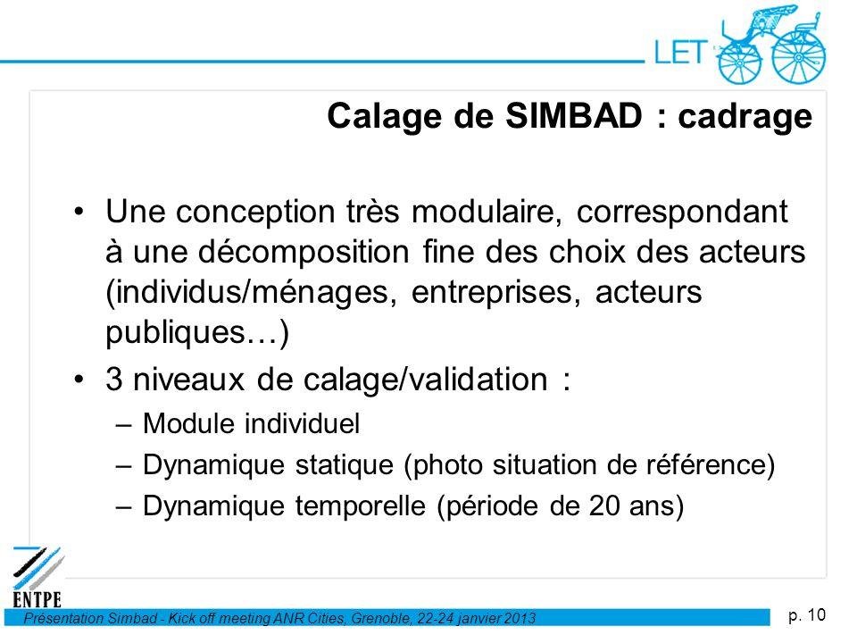 p. 10 Présentation Simbad - Kick off meeting ANR Cities, Grenoble, 22-24 janvier 2013 Calage de SIMBAD : cadrage Une conception très modulaire, corres