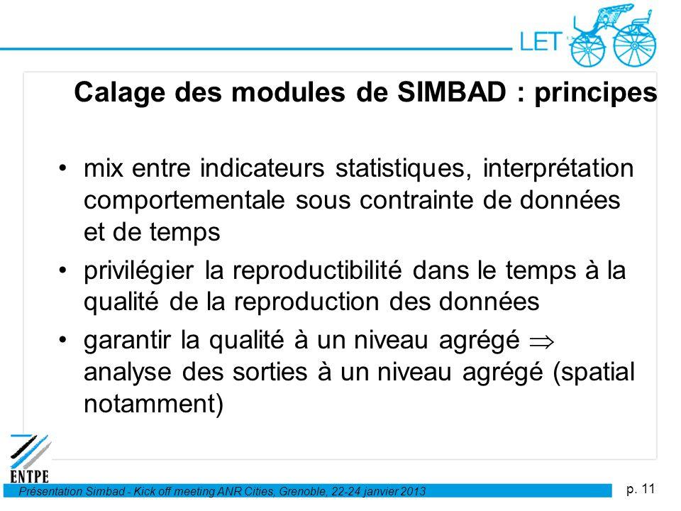 p. 11 Présentation Simbad - Kick off meeting ANR Cities, Grenoble, 22-24 janvier 2013 Calage des modules de SIMBAD : principes mix entre indicateurs s
